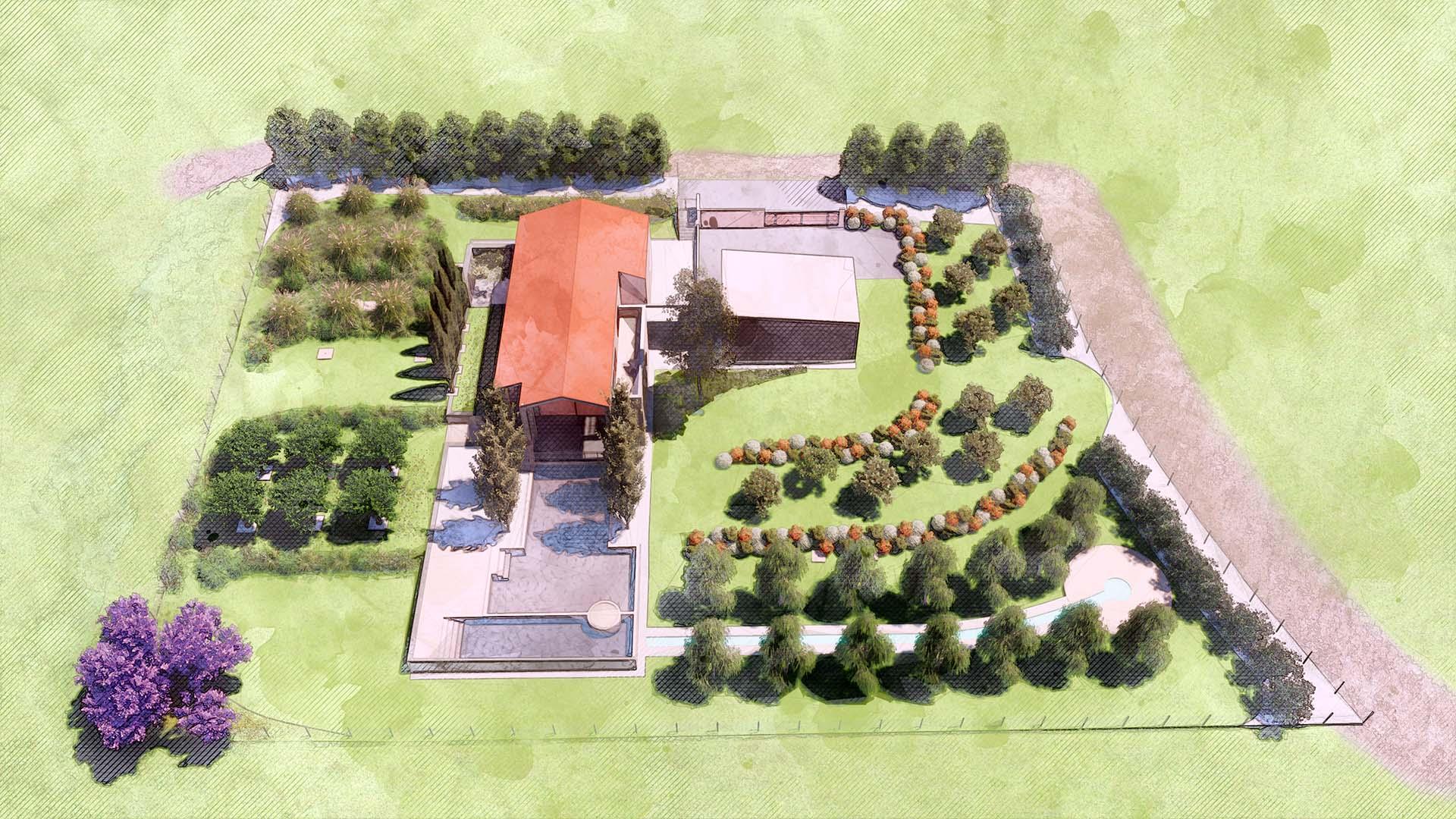 Palmieri Studio soluzione progettuale per progetto giardino villa.